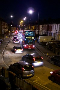 Traffic chaos on Hornsey Park Road on Ally Pally fireworks night