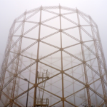 Gasholder 1 on a foggy day