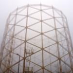Gasholder 1 on a foggy day